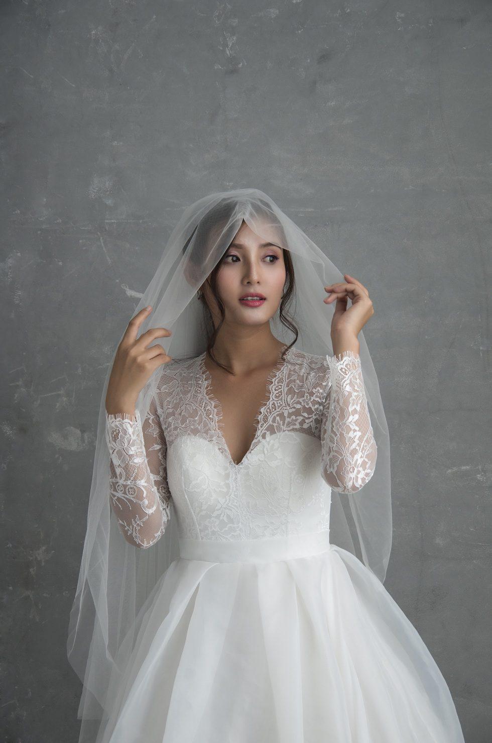 áo cưới công chúa dài tay