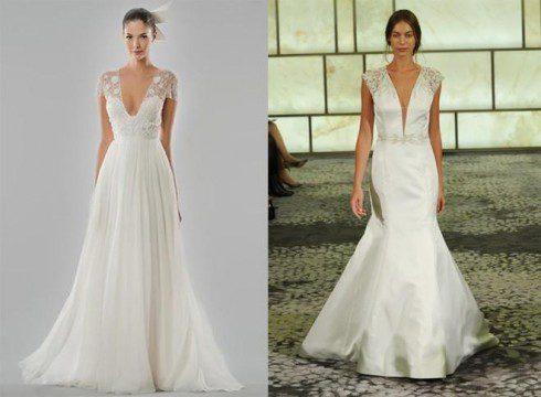 váy cưới cổ chữ v
