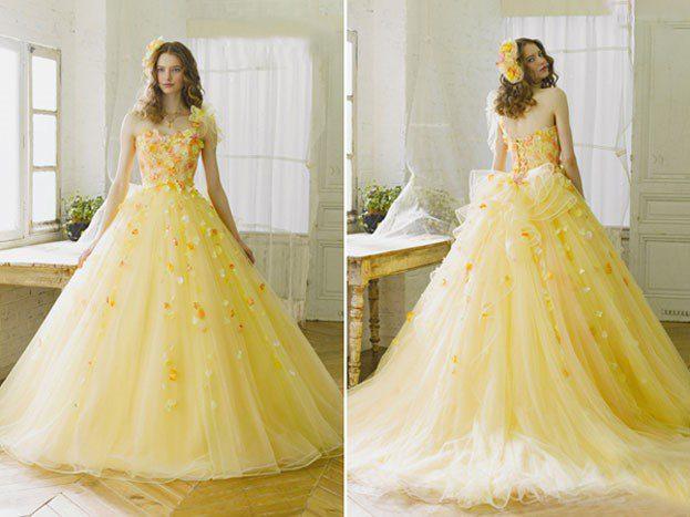 áo cưới màu vàng