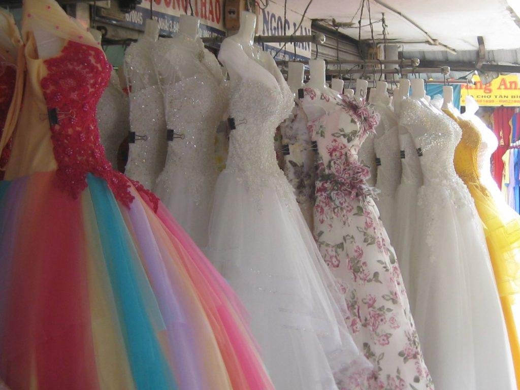 vải may váy cưới chợ tân bình
