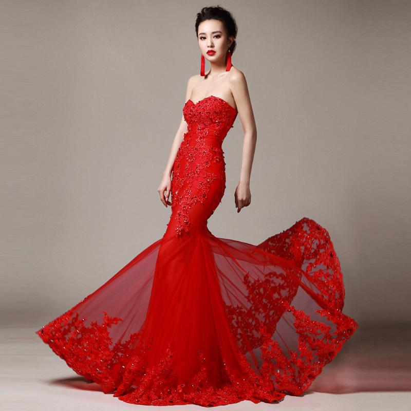 áo cưới cúp ngực màu đỏ