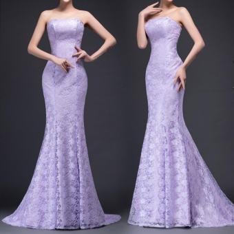 mẫu áo cưới đuôi cá màu tím