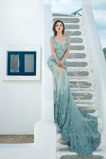 Mẫu áo cưới đuôi cá màu xanh ngọc