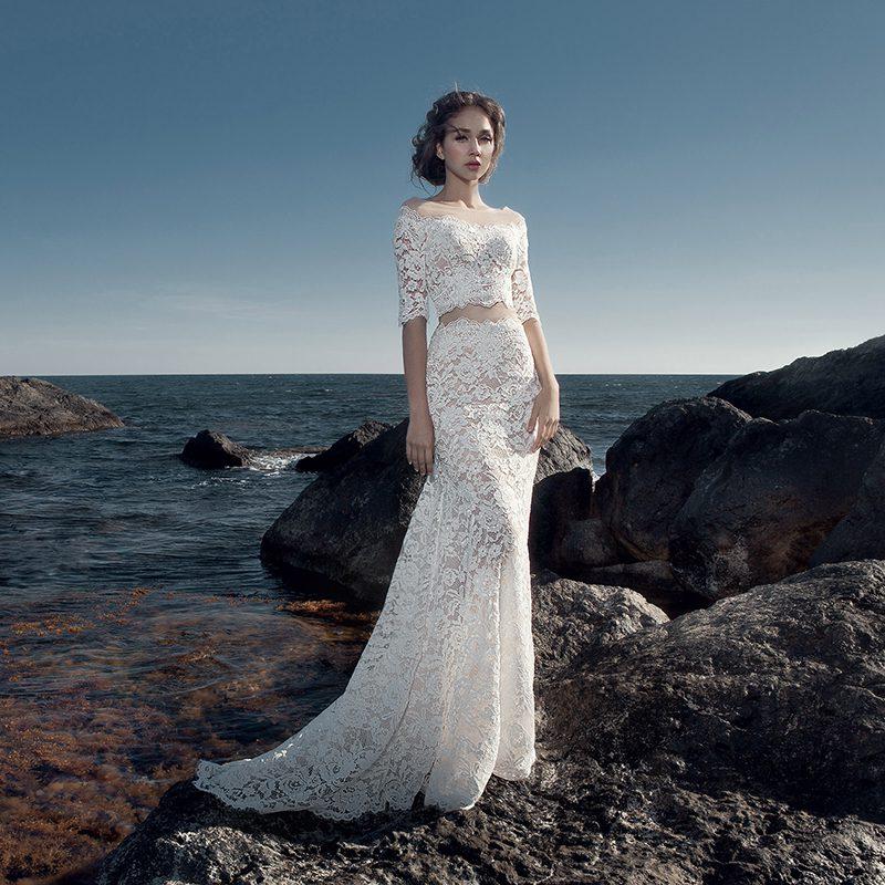 Váy cưới đuôi cá croptop