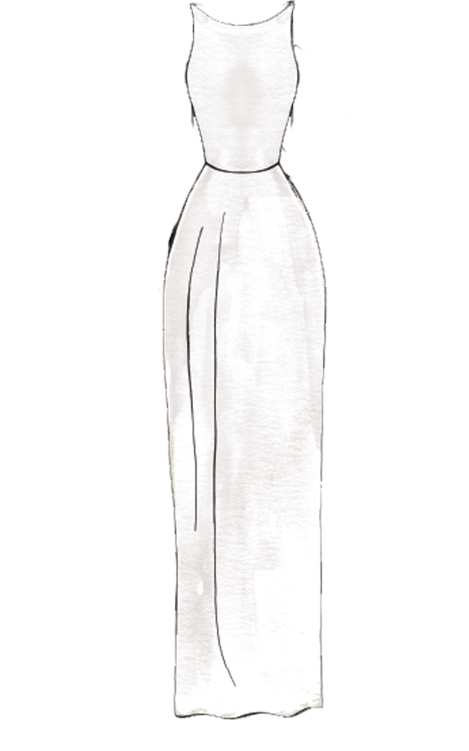 bản vẽ váy cưới dáng suông