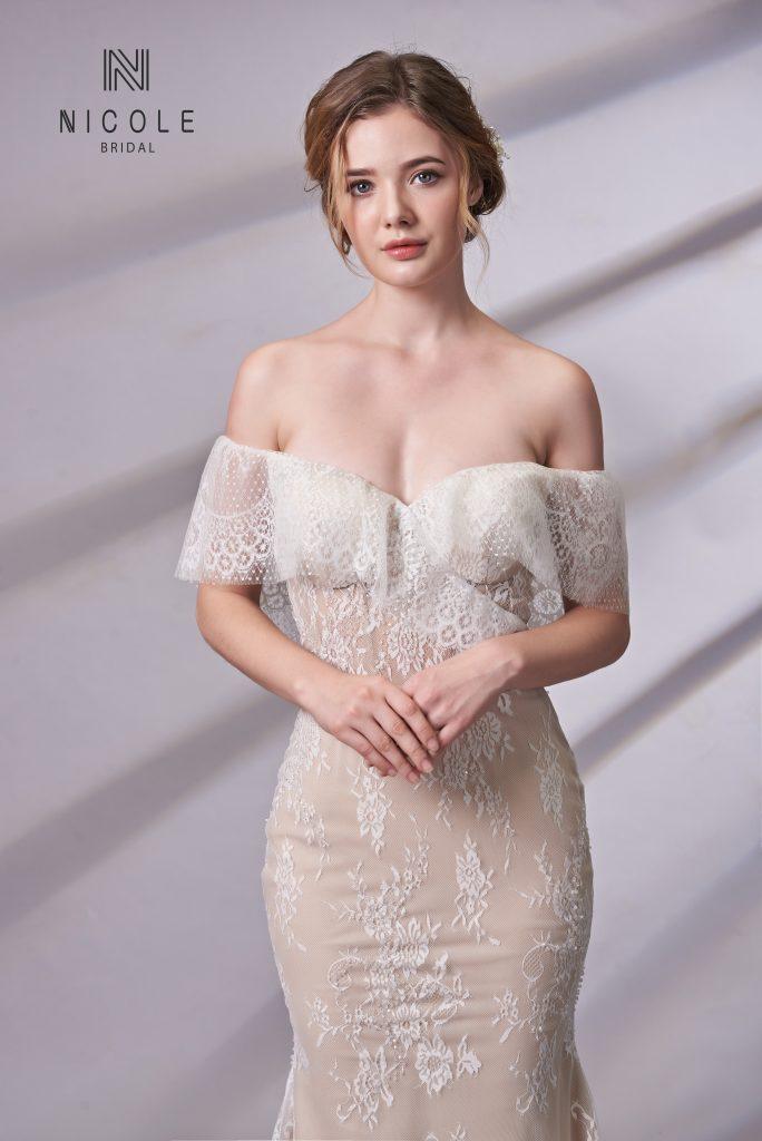 váy cưới đuôi cá ren trễ vai
