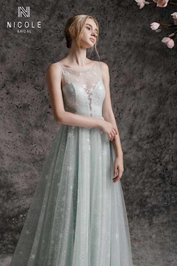 váy cưới xanh lơ chữ a
