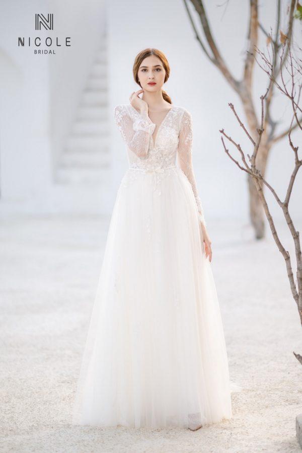 váy cưới đẹp tay dài