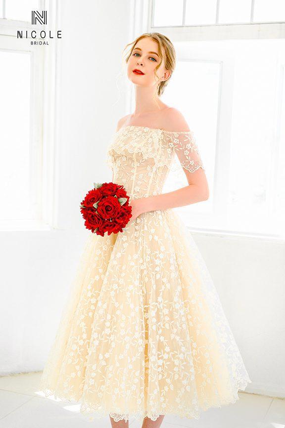 váy cưới công chúa ngắn viva