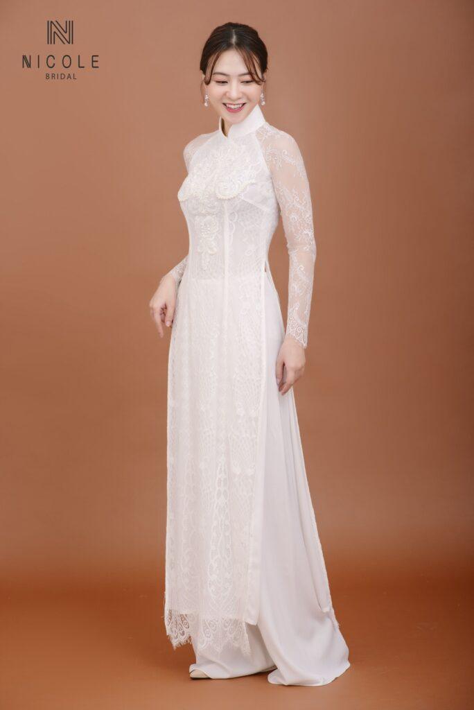 Áo dài cưới đơn giản DDTRF13