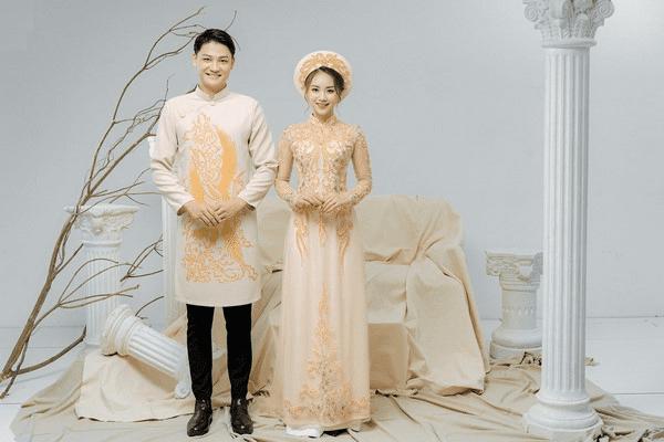 Mẫu áo dài cưới màu vàng đẹp