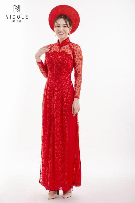áo dài cưới màu đỏ ren